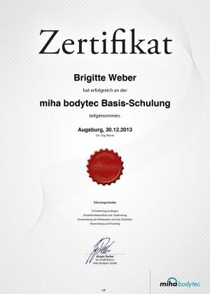 Mihabodytec Zertifikat Brigitte Weber