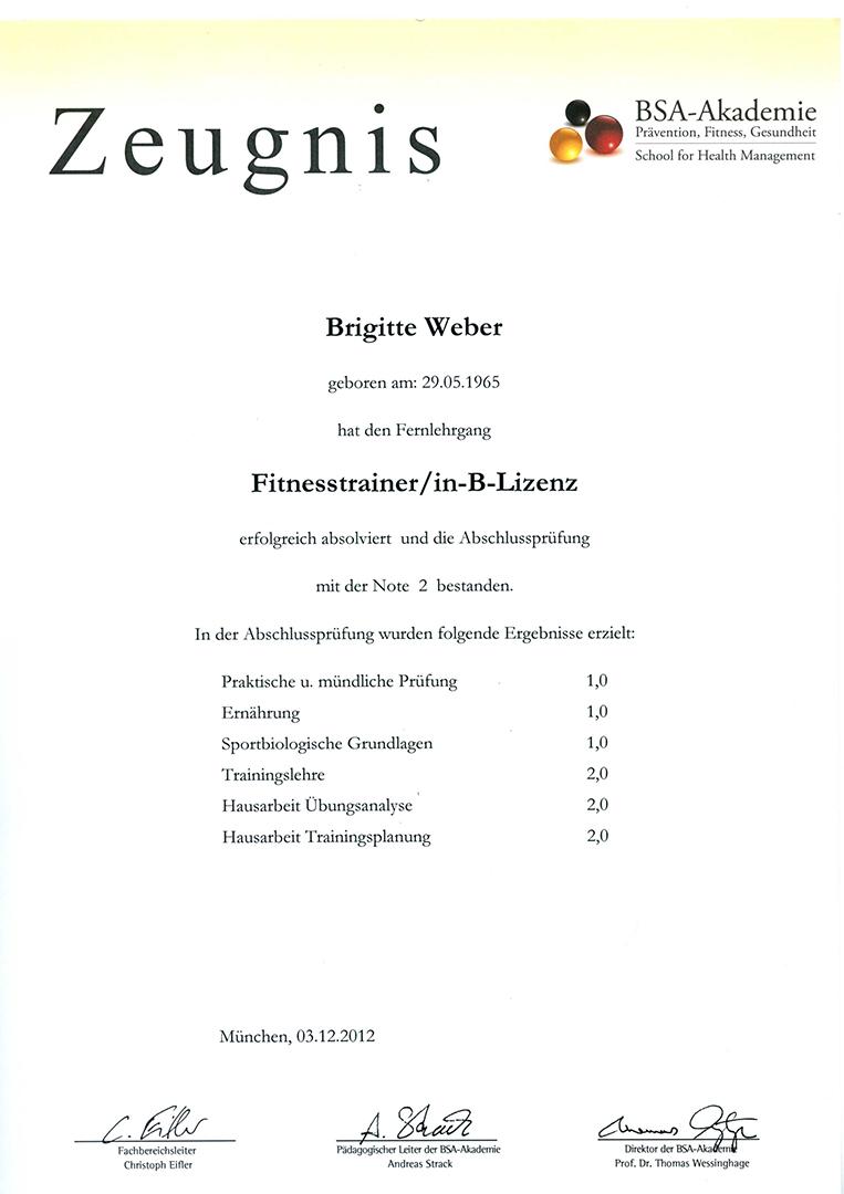 Fitnesstrainerin-B-Lizenz Brigitte Weber