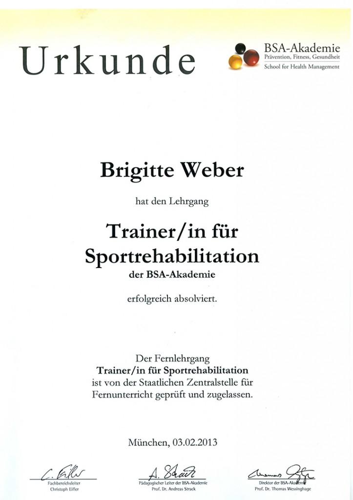 Urkunde Trainerin für Sportrehabilitation Brigitte Weber