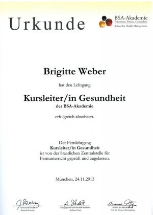 Urkunde Kursleiterin für Gesundheit Brigitte Weber