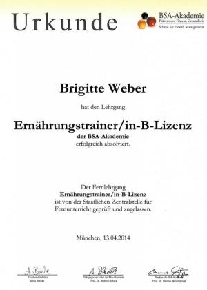 Urkunde Ernährungstrainer Brigitte Weber