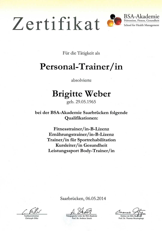 Zertifikat Personal Trainer Brigitte Weber