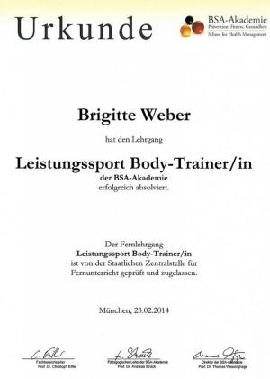 Urkunde Leistungssport Body Trainer