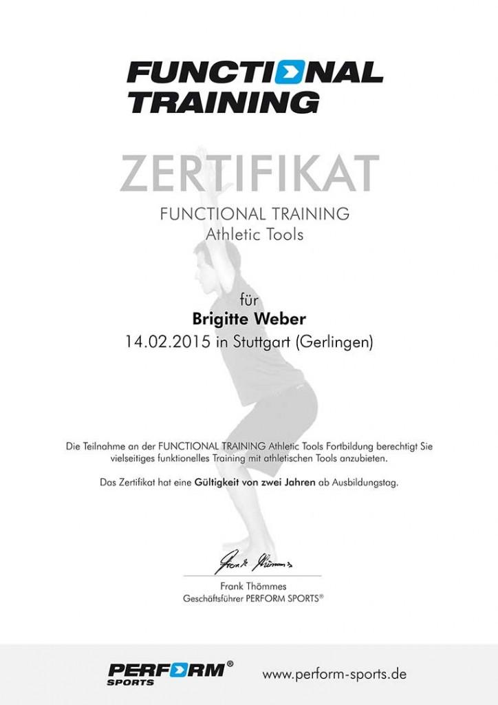 Zertifikat für Functional Training Brigitte Weber
